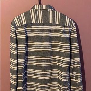 old navy grey and white striped dress shirt